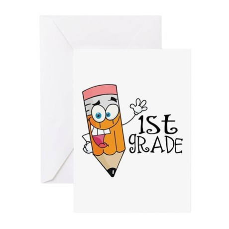 Happy Pencil 1st Grade Greeting Cards (Pk of 10)