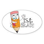 Happy Pencil 1st Grade Oval Sticker