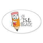 Happy Pencil 1st Grade Oval Sticker (10 pk)