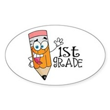 Happy Pencil 1st Grade Oval Sticker (10 pk)