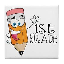 Happy Pencil 1st Grade Tile Coaster