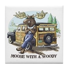 Moose with a Woody Tile Coaster