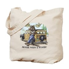 Moose with a Woody Tote Bag