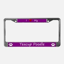 Purple I Love My Teacup Poodle License Plate Frame