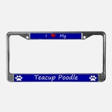 Blue I Love My Teacup Poodle License Plate Frame