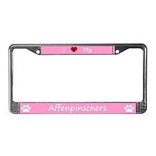 Pink I Love My Affenpinschers License Plate Frame