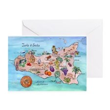 Map Of Sicily Greeting Cards (Pk of 10)