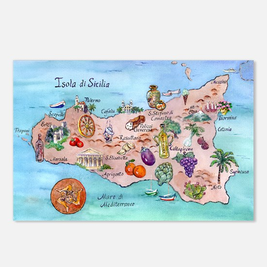 Map Of Sicily Postcards (Package of 8)