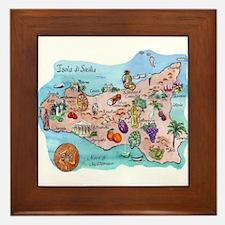 Map Of Sicily Framed Tile