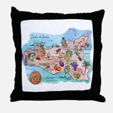 Map Of Sicily Throw Pillow
