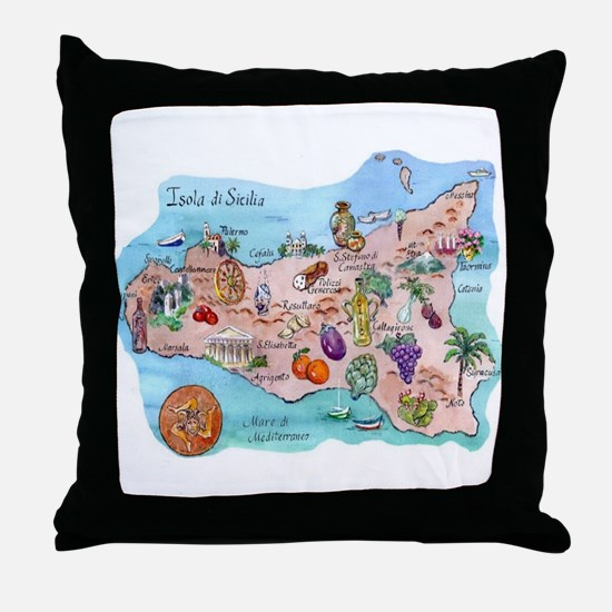 Map Of Sicily Throw Pillow
