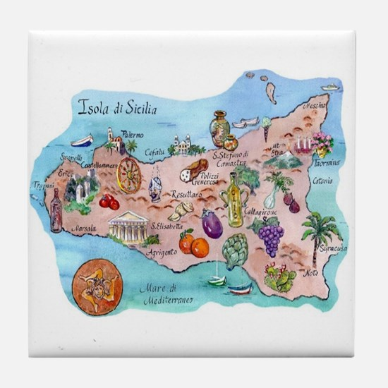 Map Of Sicily Tile Coaster