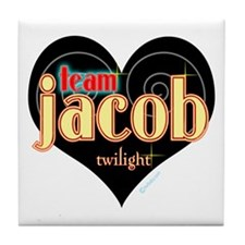 Team Jacob Black Heart Tile Coaster