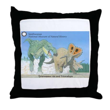 TrexTriceratops Throw Pillow