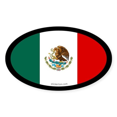 Mexican Flag Oval Sticker