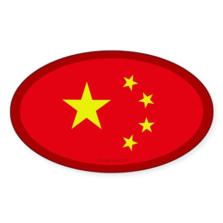 Chinese Flag Oval Sticker