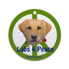 Labs 4 Peace-Yellow Ornament (Round)