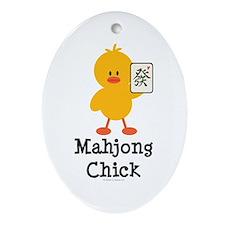 Mahjong Chick Oval Ornament