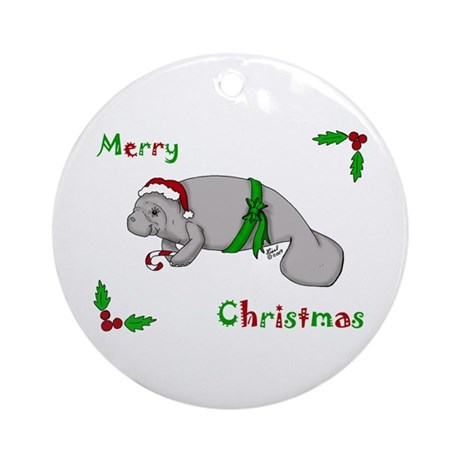 Christmas Manatee Ornament (Round)