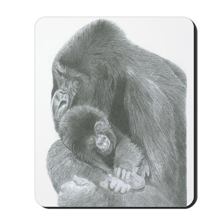 Pencil Drawing of Gorilla and Baby Mousepad