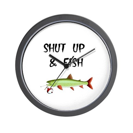 Shut up and fish wall clock by doubledawgdareu for Shut up and fish