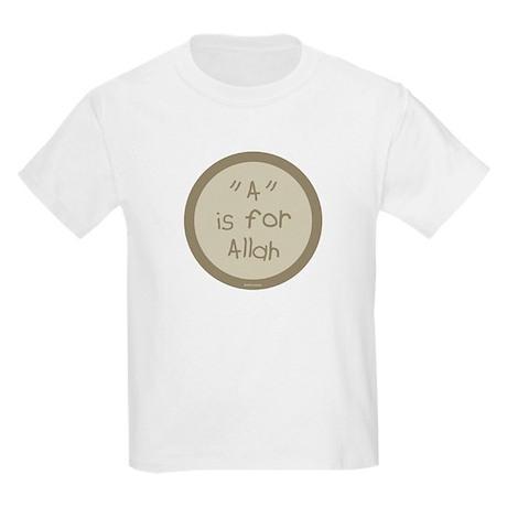"""A"" is for Allah Kids T-Shirt (khaki)"