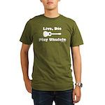 Live, Die Play Ukulele Organic Men's T-Shirt (dark