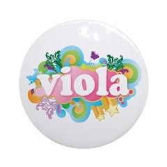 Retro Burst Viola Ornament (Round)