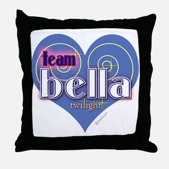 Team Bella Big Blue Heart Throw Pillow
