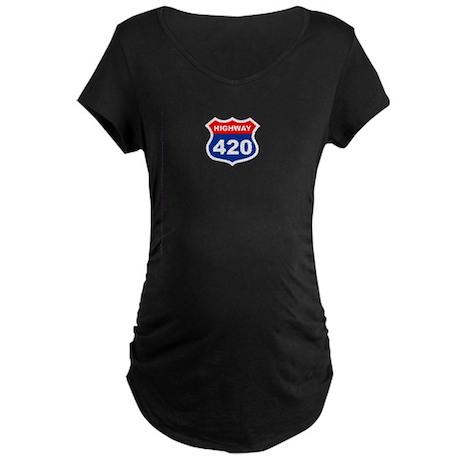 Highway 420 Maternity Dark T-Shirt