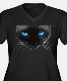 Blue Eyes Women's Plus Size V-Neck Dark T-Shirt