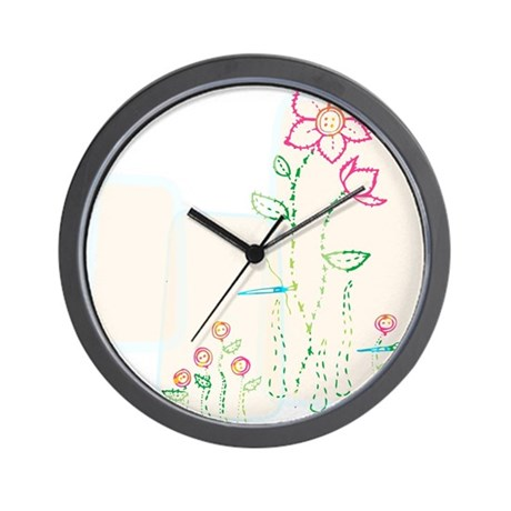 """""""Flower Stitching w/ Buttons"""" Wall Clock"""