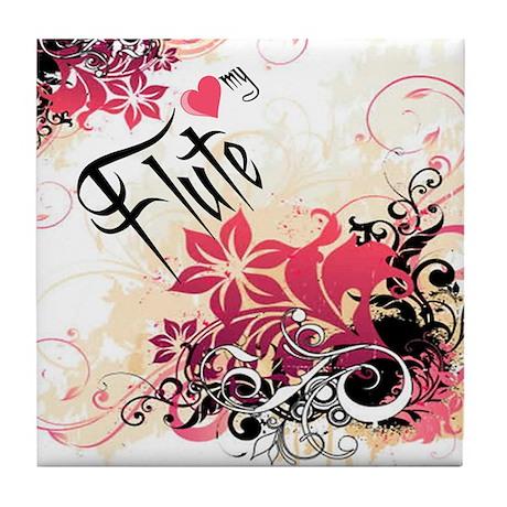 Heart My Flute Tile Coaster