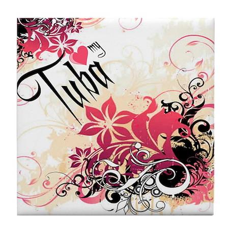 Heart My Tuba Tile Coaster