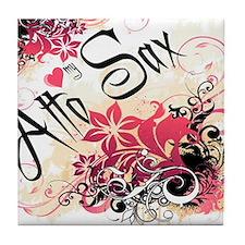 Heart My Alto Sax Tile Coaster