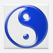 Blue Yin Yang Tile Coaster