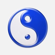 """Blue Yin Yang 3.5"""" Button"""