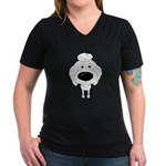 Big Nose Poodle Women's V-Neck Dark T-Shirt