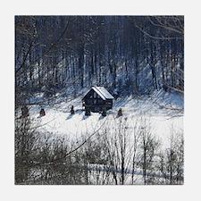 Winter Cabin Tile Coaster