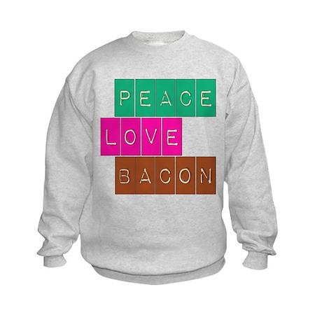 Peace Love and Bacon Kids Sweatshirt