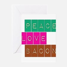 Peace Love and Bacon Greeting Cards (Pk of 10)