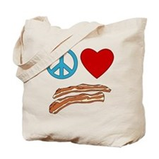 Peace Love Bacon Symbology Tote Bag