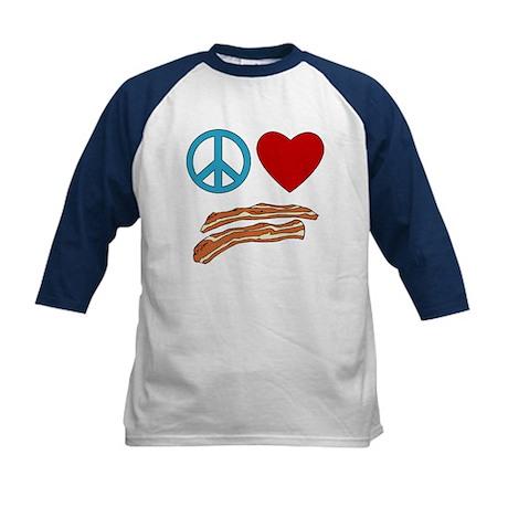 Peace Love Bacon Symbology Kids Baseball Jersey