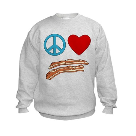 Peace Love Bacon Symbology Kids Sweatshirt
