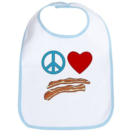 Peace Love Bacon Symbology Bib