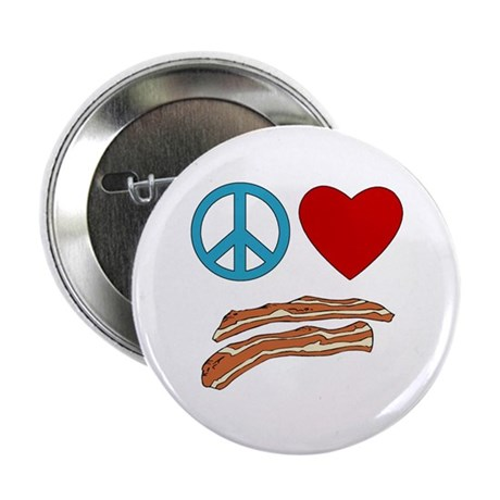 """Peace Love Bacon Symbology 2.25"""" Button (100 pack)"""