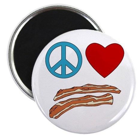 """Peace Love Bacon Symbology 2.25"""" Magnet (10 pack)"""