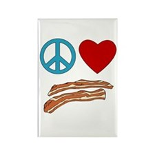 Peace Love Bacon Symbology Rectangle Magnet (10 pa