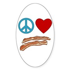 Peace Love Bacon Symbology Oval Decal