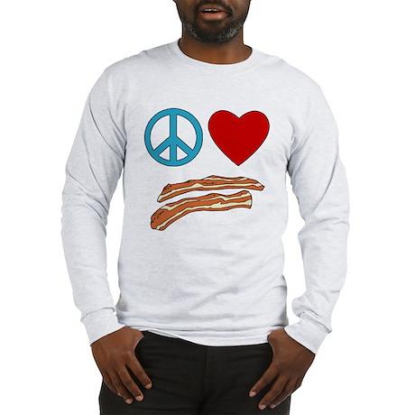Peace Love Bacon Symbology Long Sleeve T-Shirt